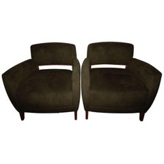 Awesome Pair of 1970s Streamlined and Cool! Midcentury Bernhardt Club Chairs