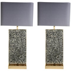 Awesome Pair of Pyrite Lamps by Georges Mathias