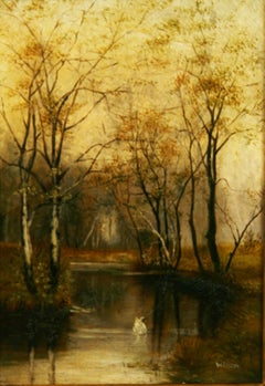 Antique Landscape oil on canvas Swan in a Stream