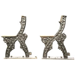 A.W.N. Pugin Attri, a Pair of Early Gothic Revival Cast Iron Garden Bench Ends