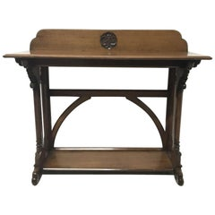 A.W.N. Pugin, J C Crace Gothic Revival Carved Oak Library, Hall or Serving Table
