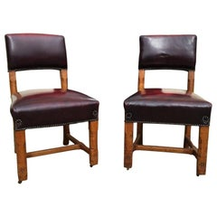 AWN Pugin Pair of Gothic Revival Oak Dining Chairs for the Palace of Westminster