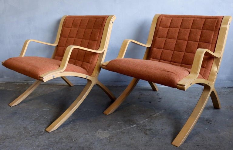 AX Lounge Chairs by Peter Hvidt & Orla Mølgaard Nielsen for Fritz Hansen In Good Condition For Sale In BROOKLYN, NY