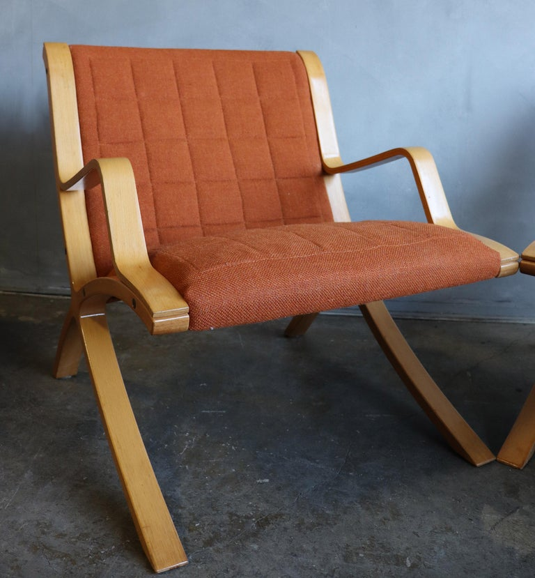 Wool AX Lounge Chairs by Peter Hvidt & Orla Mølgaard Nielsen for Fritz Hansen For Sale