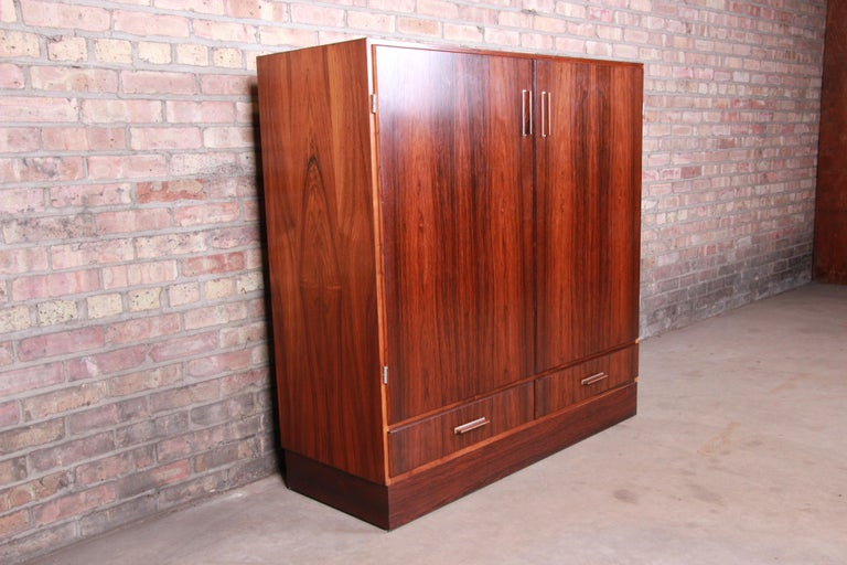 Axel Christiansen Odder Danish Modern Brazilian Rosewood Bar Cabinet, 1960s In Good Condition For Sale In South Bend, IN