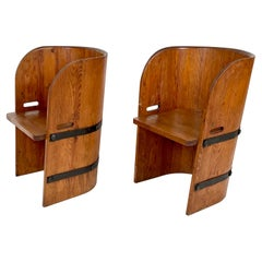 Axel-Einar Hjorth, Attributed, Pair of Solid Pine & Armchairs, Sweden, 1930-40s
