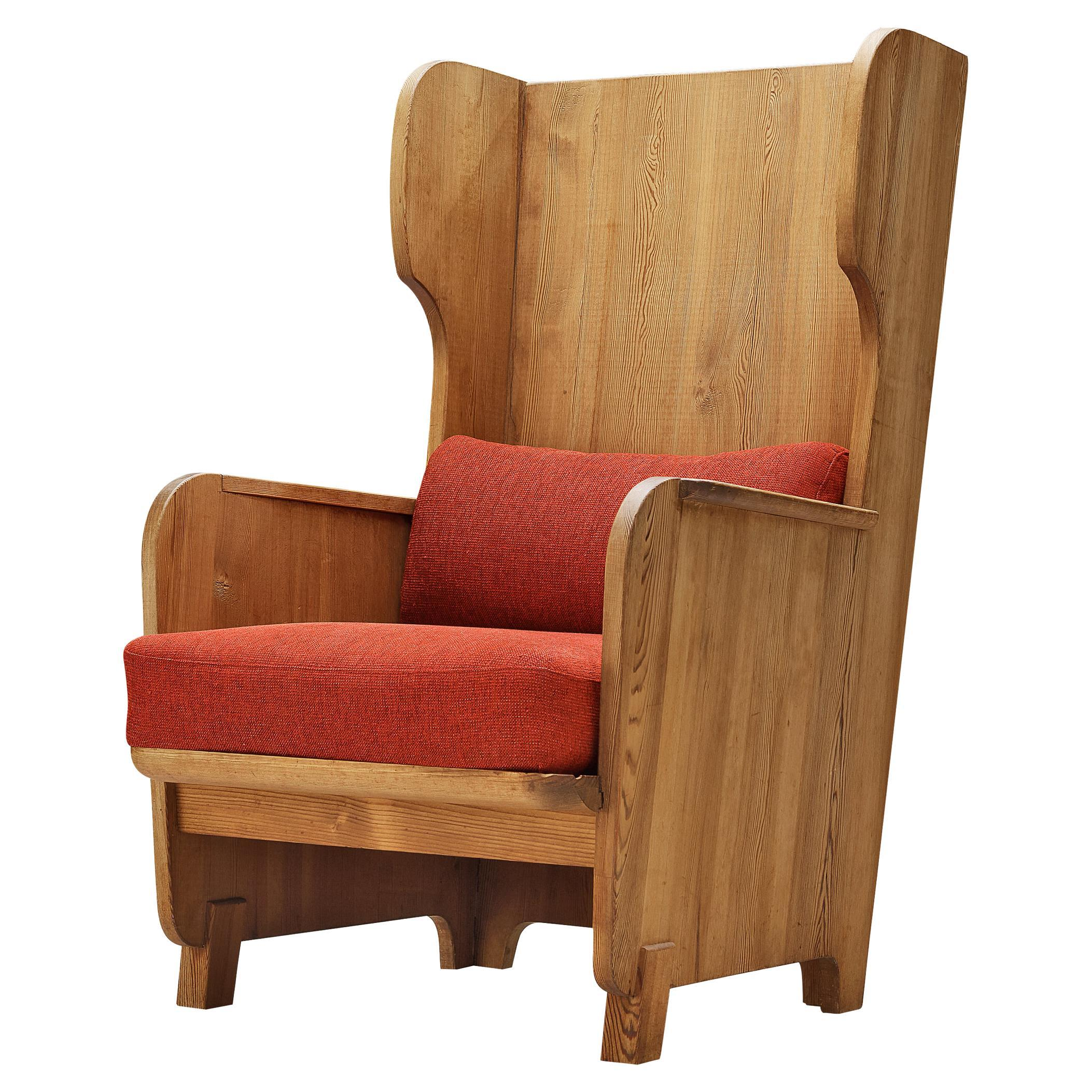 Axel Einar Hjorth 'Lovö' Lounge Chair in Solid Pine with Red Cushions
