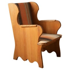 """Axel Einar Hjorth, """"Lovö"""" Lounge Chair, Stained Pine, Fabric, NK, Sweden, 1939"""