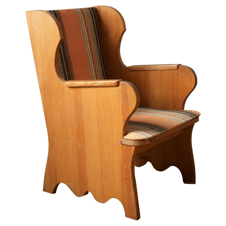 """Axel Einar Hjorth, """"Lovö"""" Lounge Chair, Stained Pine, Fabric, NK, Sweden, 1939 For Sale"""