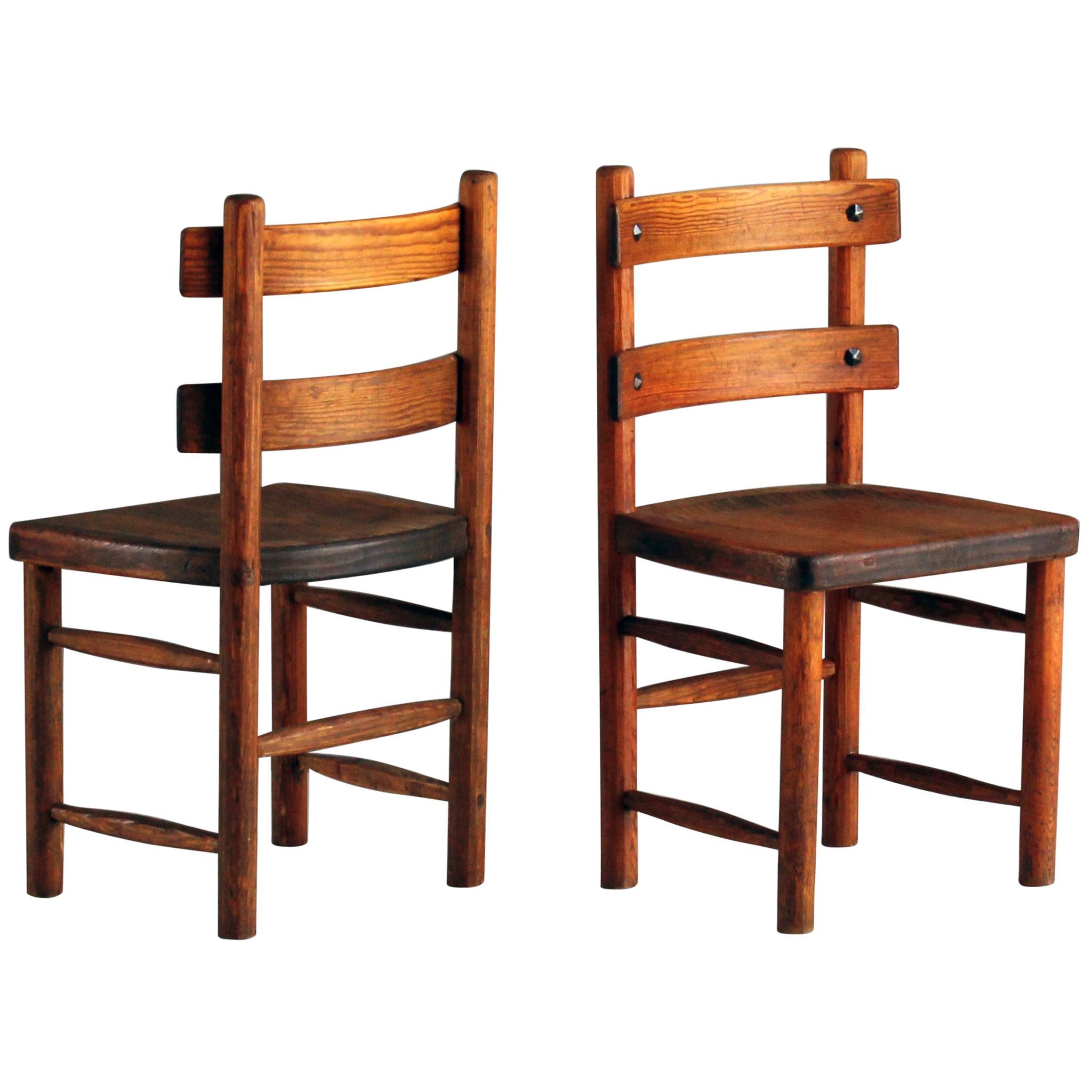 "Axel Einar Hjorth, Pair of ""Sandhamn"" Side Chairs, Pine, Wrought Iron, 1931"