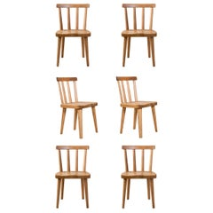 Axel Einar Hjorth, Set of 6 Swedish Solid Pine Utö Chairs