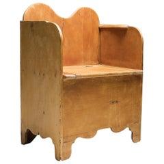 Axel Einar Hjorth Style Scandinavian Primitive Modern Armchair in Pine