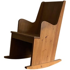 Axel Einar Hjorth, Unique Custom Made Rocking Lounge Chair, Pine NK Sweden 1940s