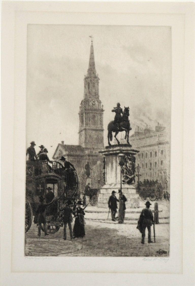 Trafalgar Square, London - Print by Axel Herman Haig, R.E.