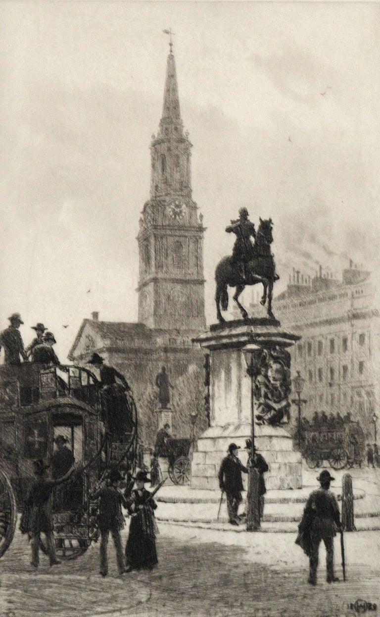 Trafalgar Square, London - Old Masters Print by Axel Herman Haig, R.E.