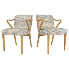 Axel Larsson for Bodafors Armchairs, 1936 in Blue/Gold Upholstery
