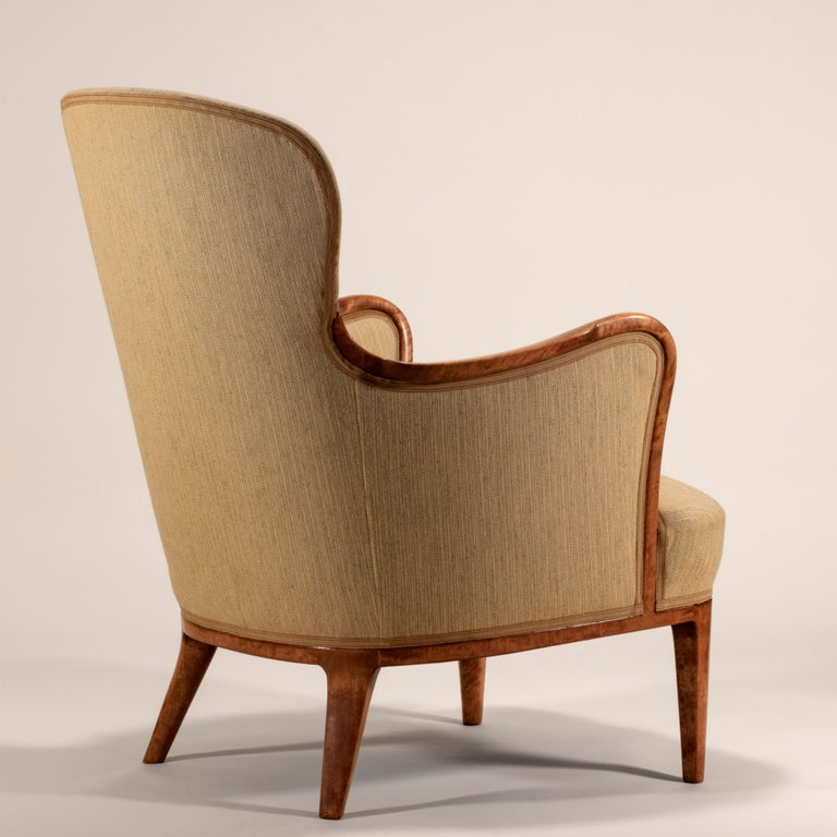 Axel Larsson for SMF Bodafors, Rare Swedish Modern Upholstered Birch Armchair In Good Condition For Sale In Philadelphia, PA
