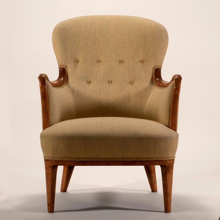 20th Century Axel Larsson for SMF Bodafors, Rare Swedish Modern Upholstered Birch Armchair For Sale