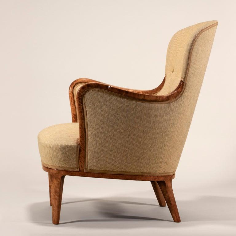 Upholstery Axel Larsson for SMF Bodafors, Rare Swedish Modern Upholstered Birch Armchair For Sale