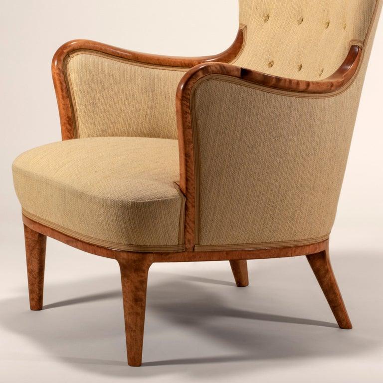 Axel Larsson for SMF Bodafors, Rare Swedish Modern Upholstered Birch Armchair For Sale 1