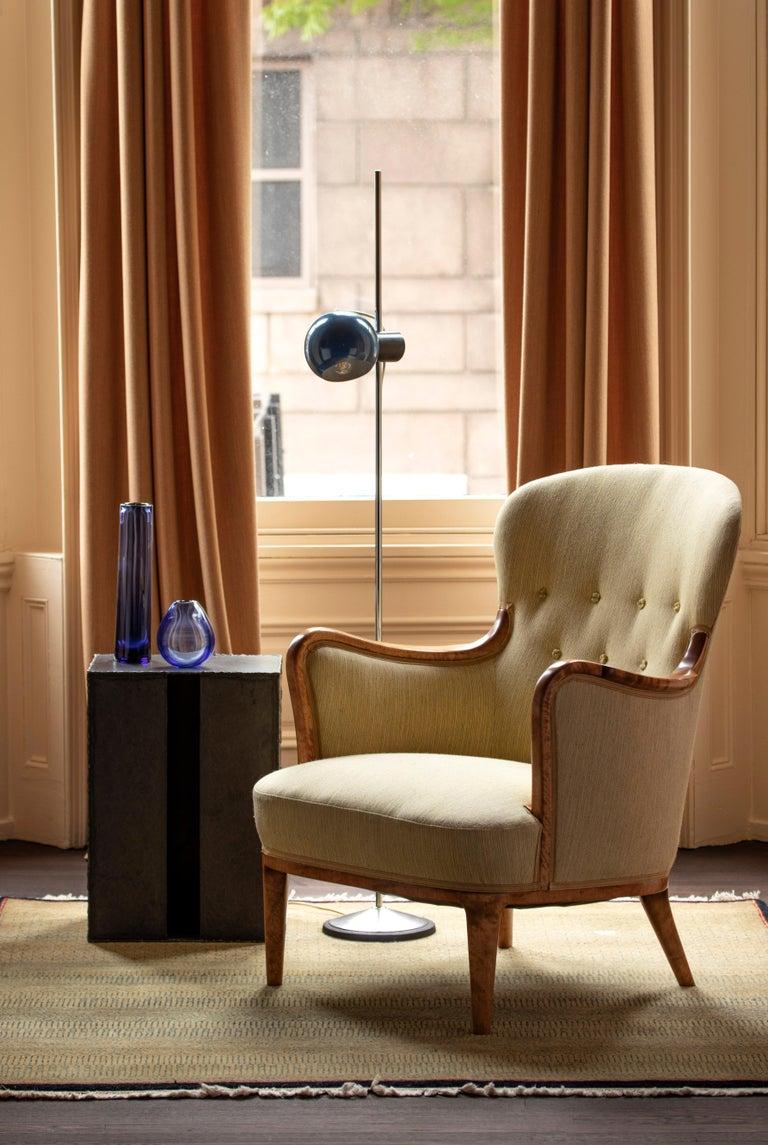 Axel Larsson for SMF Bodafors, Rare Swedish Modern Upholstered Birch Armchair For Sale 2