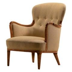 Axel Larsson for SMF Bodafors, Rare Swedish Modern Upholstered Birch Armchair