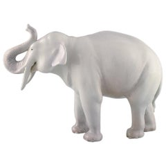Axel Locher for Royal Copenhagen, Large and Rare Porcelain Figure, Elephant