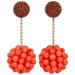 Axel Russmeyer Beaded Ball Earrings with Gold Chains, See Other Colors/Styles