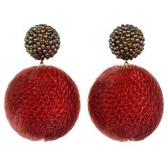 Axel Russmeyer Double Ball Earrings with Brown-Green Glass Beads and Red Sequins