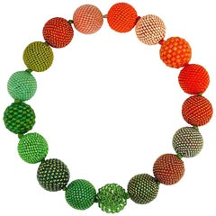 Axel Russmeyer Glass and Crystal Beaded Ball Necklaces, See Other Colors/Sizes