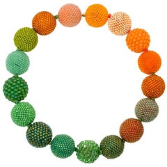 Axel Russmeyer Glass and Crystal Beaded Ball Necklace in Orange and Green Tones