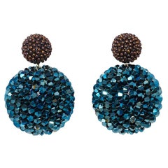 Axel Russmeyer Glass and Blue Crystal Beaded Earrings, See Other Colors/Sizes