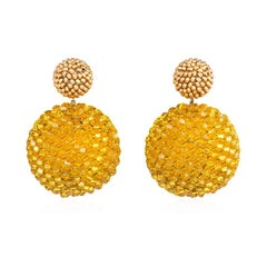 Axel Russmeyer Gold-Plated and Sunflower Yellow Beaded Earrings