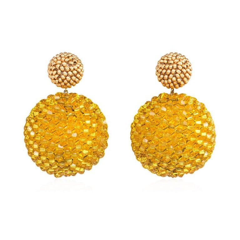 Axel Russmeyer Gold-Plated and Sunflower Yellow Beaded Earrings For Sale