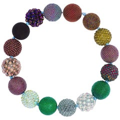 Axel Russmeyer Hand Beaded Ball Necklace in Bronze, Purple and Green Tones