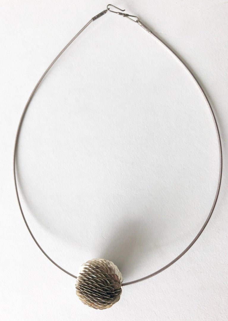 Artisan Axel Russmeyer Sterling Silver Handmade Bead Necklace For Sale