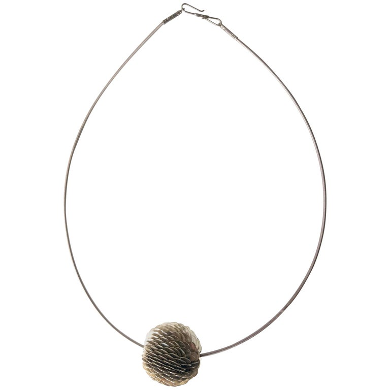 Axel Russmeyer Sterling Silver Handmade Bead Necklace For Sale