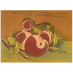Axel Salto, Color Lithography, Number 296/310, Peaches, 1920s