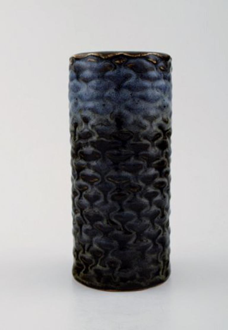 Scandinavian Modern Axel Salto for Royal Copenhagen. Stoneware Vase Modeled with Buds in Relief For Sale