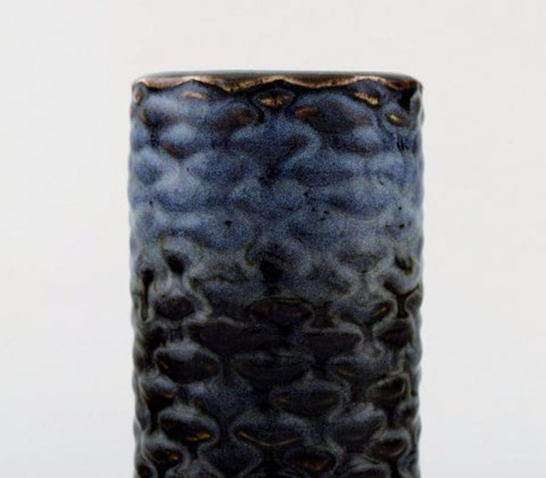 Danish Axel Salto for Royal Copenhagen. Stoneware Vase Modeled with Buds in Relief For Sale