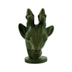 Axel Salto for the Ipsens Widow, Art Deco Deer Head in Dark Green Glaze, 1930s