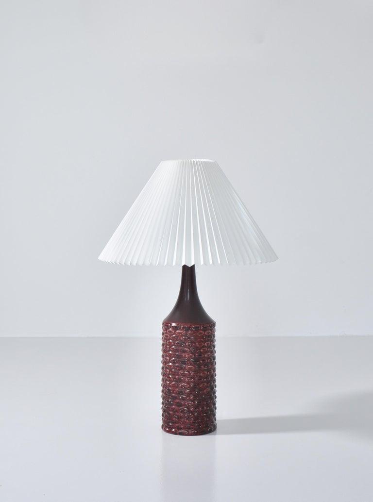 Scandinavian Modern Axel Salto Large Table Lamp in Oxblood Glaze from Royal Copenhagen, 1958 For Sale
