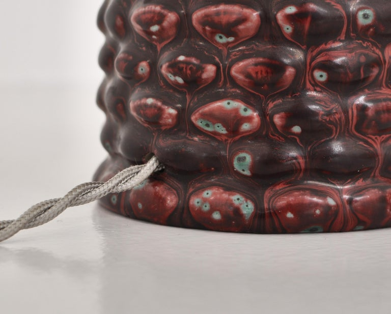 Axel Salto Large Table Lamp in Oxblood Glaze from Royal Copenhagen, 1958 For Sale 1