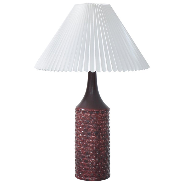 Axel Salto Large Table Lamp in Oxblood Glaze from Royal Copenhagen, 1958 For Sale