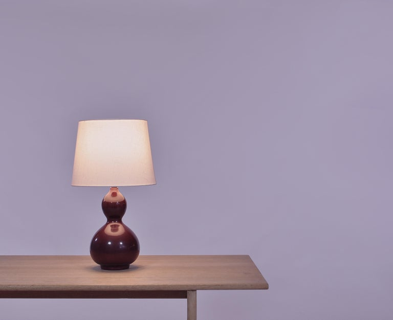 Scandinavian Modern Axel Salto Stoneware Table Lamp in Ox Blood Glaze, Royal Copenhagen For Sale