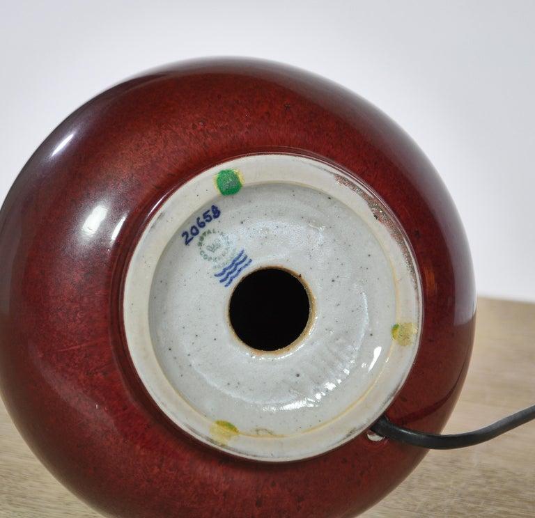 Axel Salto Stoneware Table Lamp in Ox Blood Glaze, Royal Copenhagen For Sale 1
