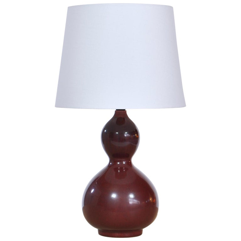 Axel Salto Stoneware Table Lamp in Ox Blood Glaze, Royal Copenhagen For Sale
