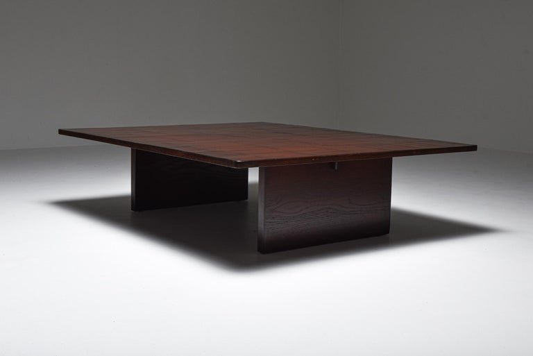 Axel Vervoordt, Belgium 1980, coffee table in solid oak and bamboo.  Conceived and produced by the great Belgian decorator & art dealer in the 1980s. Rolls of bamboo were ordered in China to top these custom designed coffee tables.  Through this