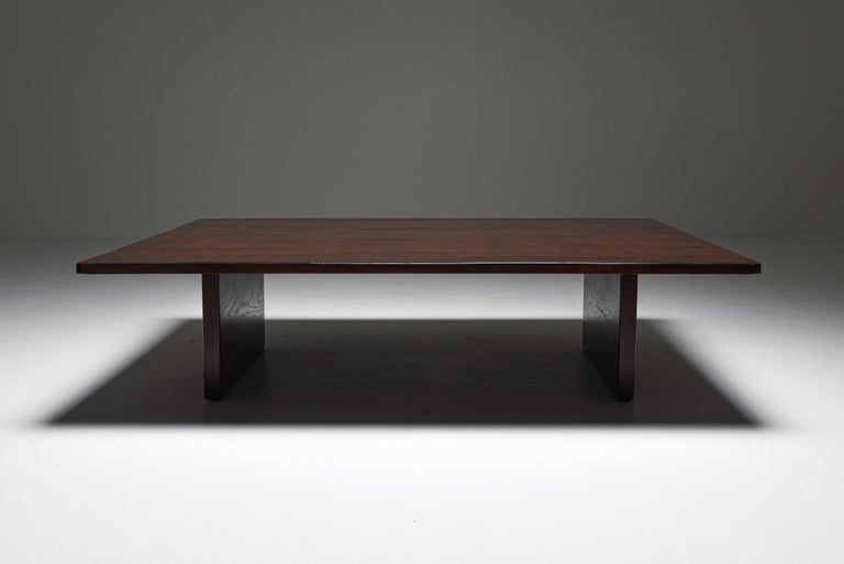 Japonisme Axel Vervoordt Stained Oak and Bamboo Coffee Table, 1980s For Sale