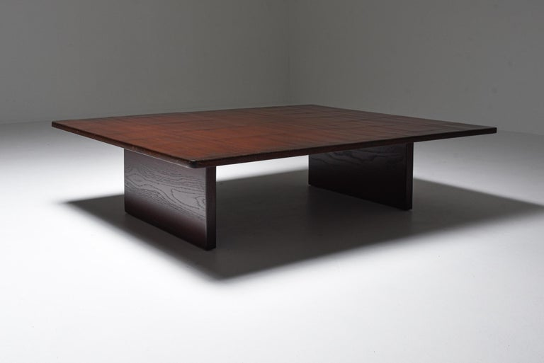 Belgian Axel Vervoordt Stained Oak and Bamboo Coffee Table, 1980s For Sale